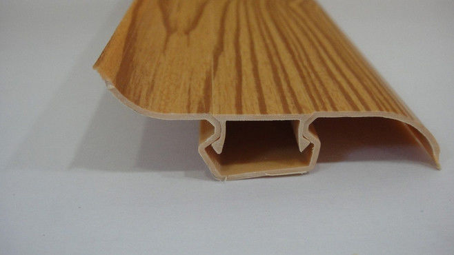 Dust Proof 80% PVC Skirting Board Covers Profile With Wood Grain Pattern