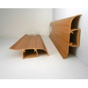 Waterproof Plastic Skirting Board Wooden Color Crack - Resistant 18mm Thickness
